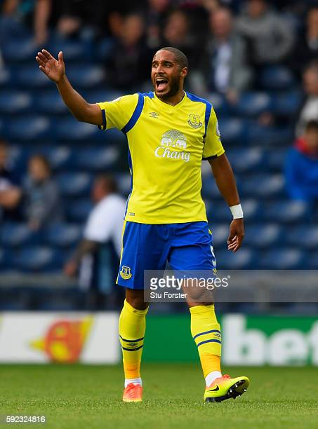 Everton player Ashley Williams reacts during the Premier League match between West Bromwich Albion and Everton at The Hawthorns on August 20 2016 in...
