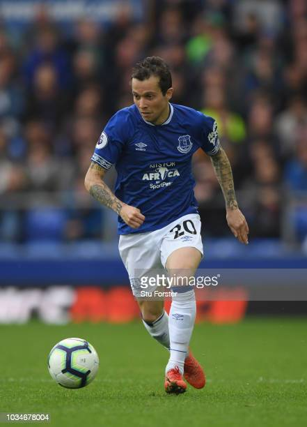 Everton player Bernard in action during the Premier League match between Everton FC and West Ham United at Goodison Park on September 16 2018 in...