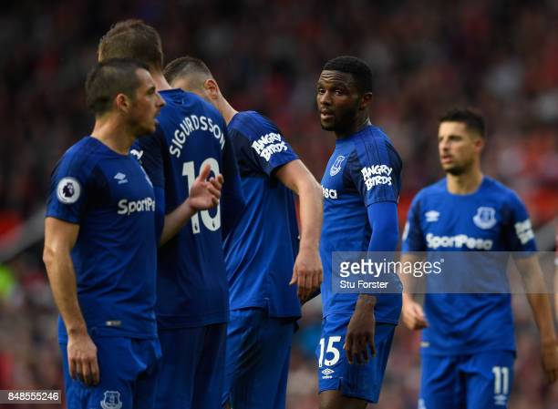Everton player Cuco Martinez displays the 'Angry Birds' logo on the shirt sleeve as his team mates line up a wall during the Premier League match...
