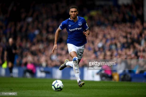 Everton player Dominic CalvertLewin in action during the Premier League match between Everton FC and Arsenal FC at Goodison Park on April 07 2019 in...