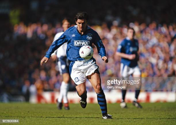 Everton player Gary Speed in action during a Premier League match against Tottenham Hotspur at Goodison Park on April 18th 1997 in Liverpool England