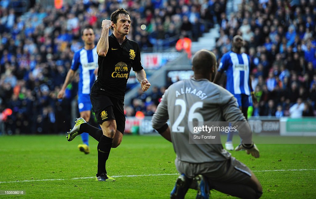 Everton player Leighton Baines celebrates after scoring the second Everton goal from the penalty spot during the Barclays Premier League game between Wigan Athletic and Everton at DW Stadium on October 6, 2012 in Wigan, England.