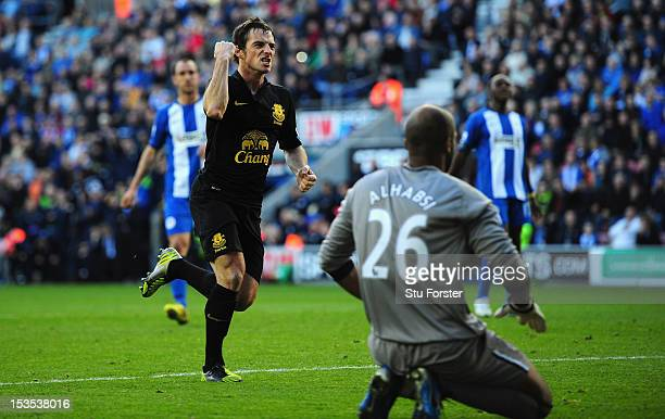 Everton player Leighton Baines celebrates after scoring the second Everton goal from the penalty spot during the Barclays Premier League game between...