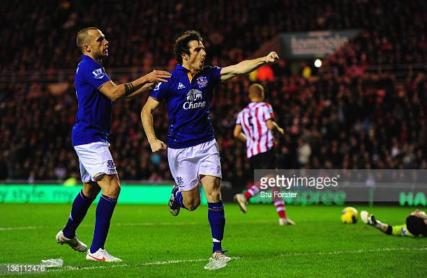 Everton player Leighton Baines celebrates his penalty during the Barclays Premier League match between Sunderland and Everton at Stadium of Light on...