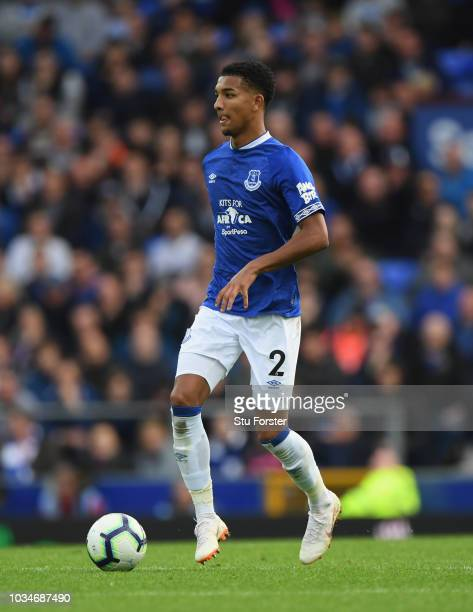Everton player Mason Holgate in action during the Premier League match between Everton FC and West Ham United at Goodison Park on September 16 2018...