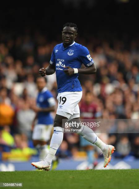 Everton player Oumar Niasse pictured during the Premier League match between Everton FC and West Ham United at Goodison Park on September 16 2018 in...