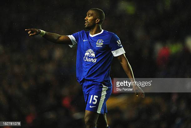 Everton player Sylvian Distin reacts during the Capital One Cup Third Round match between Leeds United and Everton at Elland Road on September 25,...