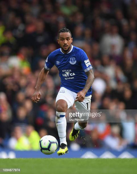 Everton player Theo Walcott in action during the Premier League match between Everton FC and West Ham United at Goodison Park on September 16 2018 in...