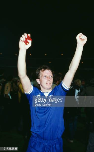 Everton player Trevor Steven celebrates with medal in hand after the 31 win over Rapid Vienna in the UEFA European Cup Winners Cup Final on the 15th...