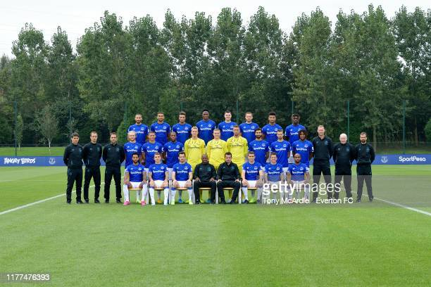 Everton players and staff pose for the 2019/2020 official first team photograph at USM Finch Farm on September 18, 2019 in Halewood, England.