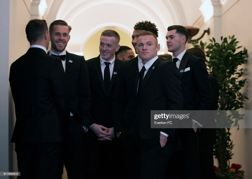 Everton players arrive before the Everton in the Community Gala Dinner at St Georges Hall on February 13, 2018 in Liverpool, England.