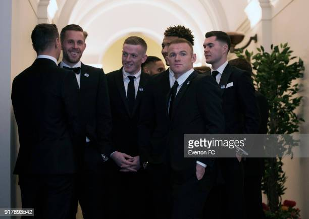 Everton players arrive before the Everton in the Community Gala Dinner at St Georges Hall on February 13 2018 in Liverpool England
