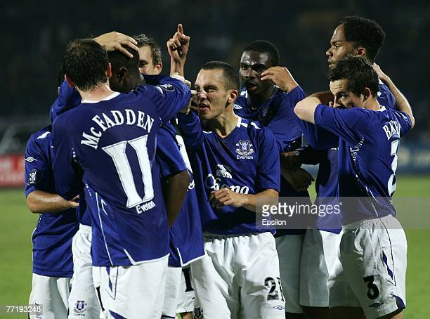 Everton players celebrate after scoring against FC Metallist during the UEFA Cup 1st Round, 2nd Leg match between Metalist Kharkiv & Everton at the...