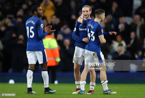 Everton players celebrate their win following the Premier League match between Everton and Crystal Palace at Goodison Park on February 10 2018 in...