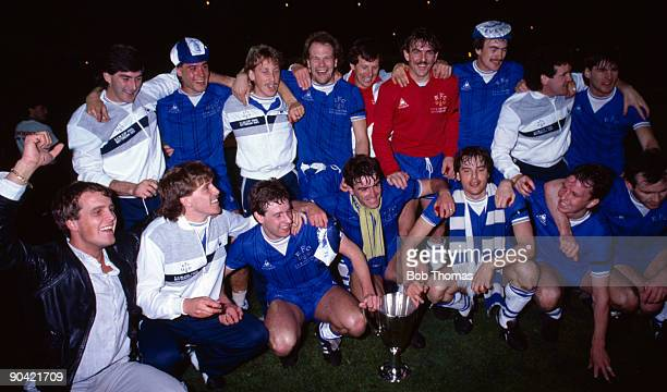 Everton players celebrate with the trophy after the Everton v Rapid Vienna UEFA European Cup Winners Cup Final played in Rotterdam, Holland on the...