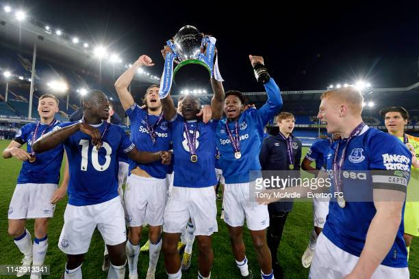 Everton players celebrate with the trophy after the Premier League 2 Match between Everton v Brighton Hove Albion at Goodison Park on April 15 2019...
