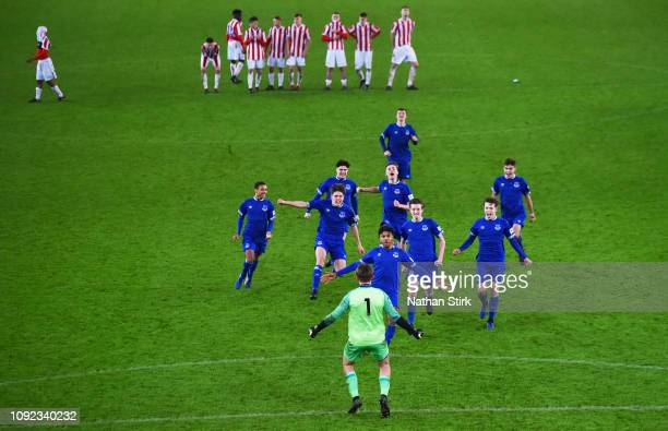 Everton players celebrates as they beat Stoke on penalties during the FA Youth Cup Fourth Round match between Stoke City and Everton at Britannia...
