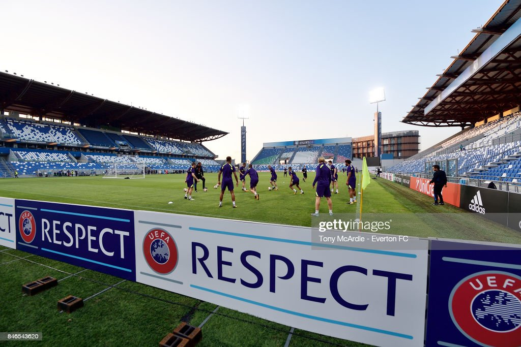 Everton players during an Everton training session on the eve of their UEFA Europa League group E match against Atalanta, at Mapei Stadium on September 13, 2017 in Reggio nell'Emilia, Italy.