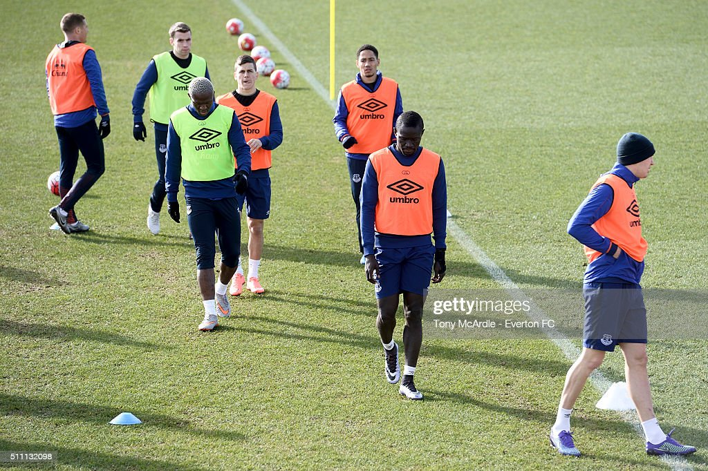 Everton players during the Everton training session at Finch Farm on February 18, 2016 in Halewood, England.