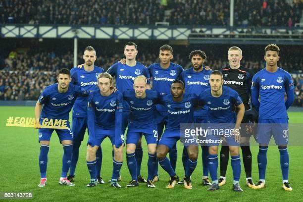 Everton players Everton's French midfielder Morgan Schneiderlin Everton's English defender Michael Keane Everton's English striker Dominic...