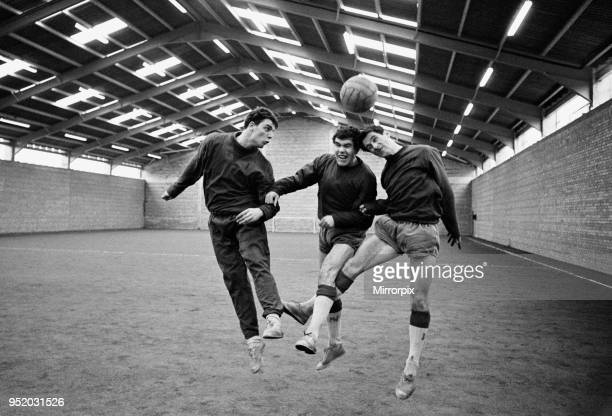 Everton players Fred Pickering Alex Scott and Derek Temple training at their brand new indoor training quarters in West Derby Liverpool 2nd March 1966