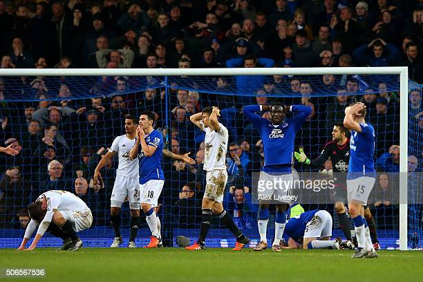 Everton players including Romelu Lukaku and Gareth Barry react after Seamus Coleman missed an opportunity late in the Barclays Premier League match...