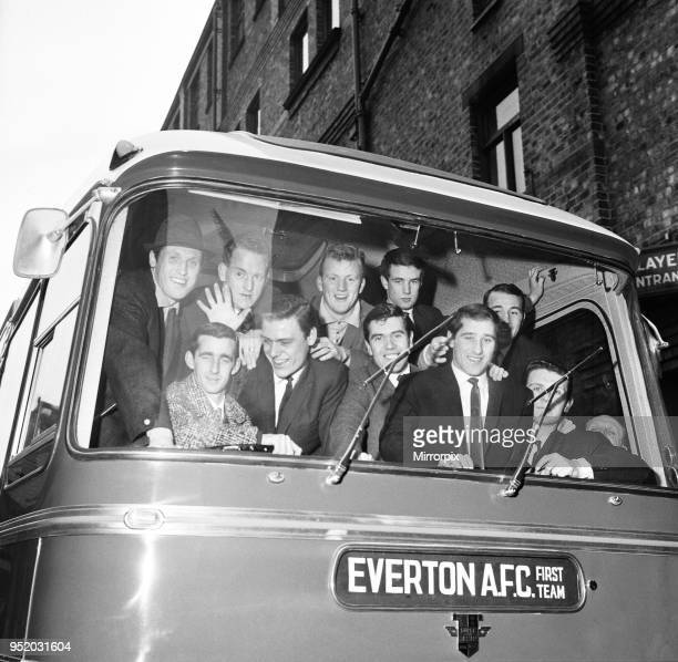 Everton players leave for Sunderland in their £10 000 coach ahead of their FA cup fifth round match, 14th February 1964.