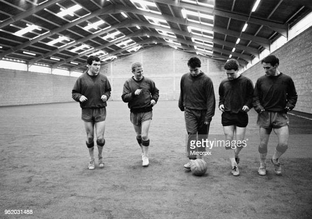 Everton players training at their brand new indoor training quarters in West Derby 2nd March 1966