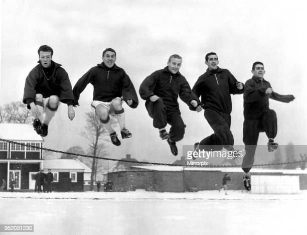 Everton players training in preparation for an upcoming FA Cup match against King's Lynn Left to right Billy Bingham Bobby Collins Alex Young Roy...