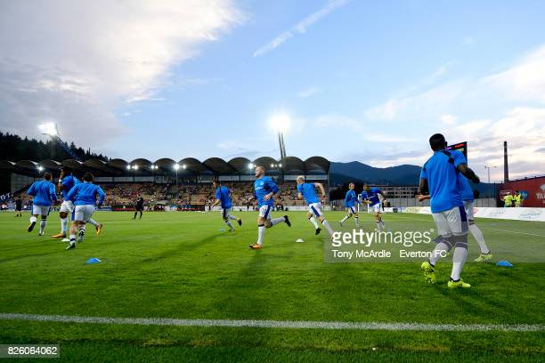 Everton players warm up before UEFA Europa League Qualifier match between MFK Ruzomberok and Everton on August 3 2017 in Ruzomberok Slovakia