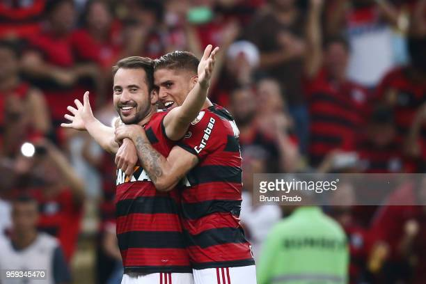 Everton Ribeiro and Gustavo Cuellar of Flamengo celebrate a scored goal during a Group Stage match between Flamengo and Emelec as part of Copa...