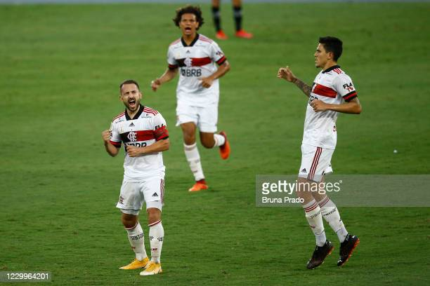 Everton Ribeiro of Flamengo celebrates after scoring the first goal of his team during the match between Botafogo and Flamengo as part of the...
