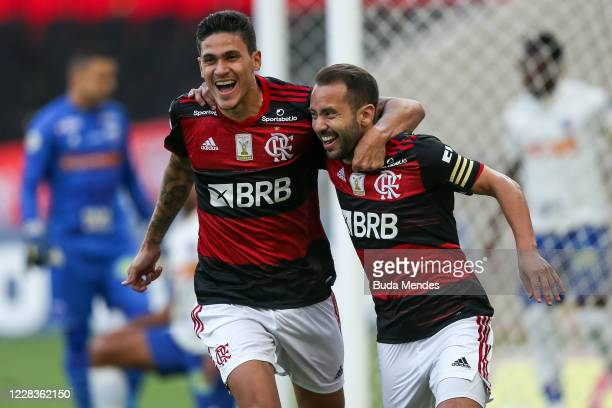 Everton Ribeiro of Flamengo celebrates with Pedro after scoring the first goal of his team during a match between Fluminense and Atletico GO as part...