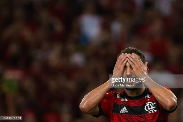 Everton Ribeiro of Flamengo reacts during a match between Flamengo and Palmeiras as part of Brasileirao Series A 2018 at Maracana Stadium on October...