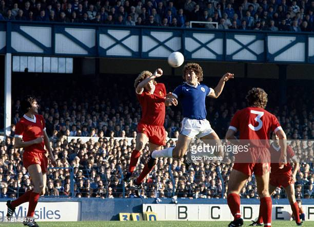 Everton striker Bob Latchford is challenged by Liverpool defender Phil Thompson watched by Alan Hansen and Alan Kennedy during their First Division...