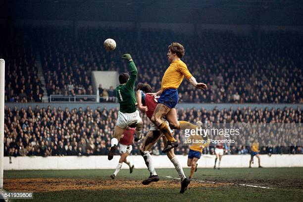 Everton striker Joe Royle attacking the West Ham United goal during their First Division match at Upton Park in London 13th December 1969
