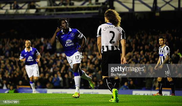 Everton striker Romelu Lukaku celebrates after scoring the first goal during the Barclays Premier League match between Everton and Newcastle United...