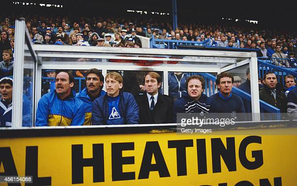 Everton substitute Alan Harper manager Howard Kendall and assistant Colin Harvey look on during a 1-0 Everton victory against Sheffield Wednesday in...