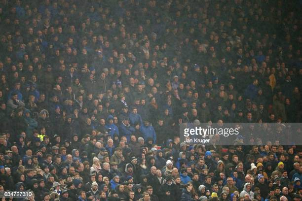 Everton supporters are seen in the rain during the Premier League match between Middlesbrough and Everton at Riverside Stadium on February 11 2017 in...