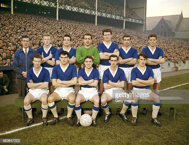 Everton team group circa 1959 pictured at Goodison Park in Liverpool England selected players include Billy Bingham Frank Wignall Roy Vernon Jimmy...