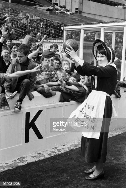 Everton toffee lady, 16 year old Catherine Dunn, holds a trophy presented to Everton supporters before the match against Crystal Palace, 16th August...