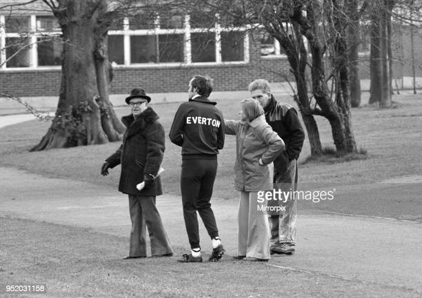 Everton training at Selsdon park for the League Cup Final match against Aston Villa on Croydon Girls High School hockey pitch where an irate games...
