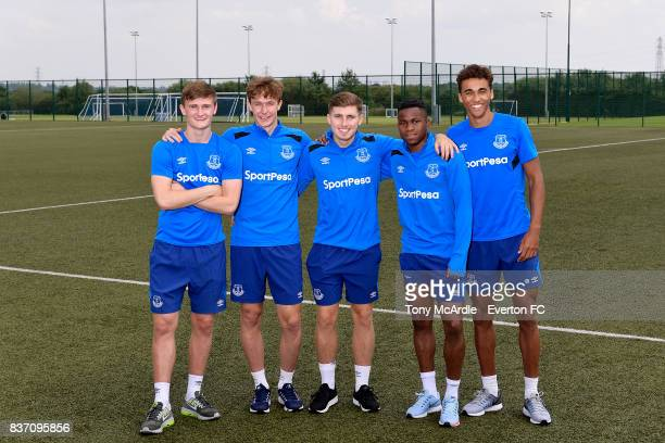 Everton U20 World Cup winners Callum Connolly Kieran Dowell Jonjoe Kenny Ademola Lookman and Dominic Calvert-Lewin pose for a photo at USM Finch Farm...