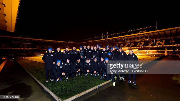 Everton Under 23 squad prepare for the the Everton in the Community Sleepover Event at Goodison Park on November 25 2016 in Liverpool England
