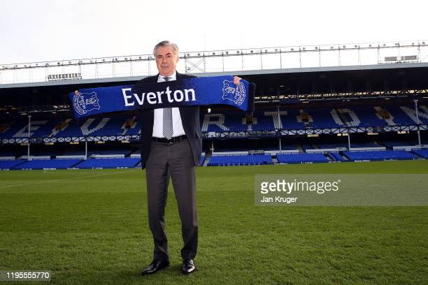 Everton unveil new manager Carlo Ancelotti at Goodison Park on December 23 2019 in Liverpool England