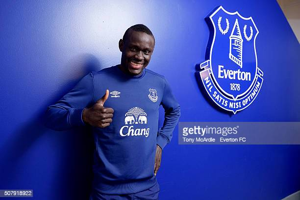 Everton unveil new signing Oumar Niasse at Finch Farm on February 1 2016 in Halewood England