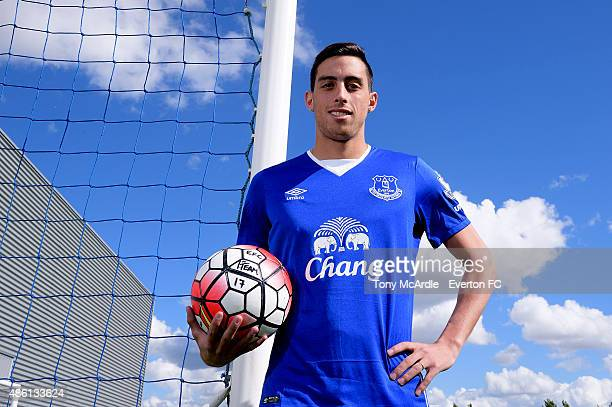 Everton unveil new signing Ramiro Funes Mori at Finch Farm on August 27, 2015 in Halewood, England.