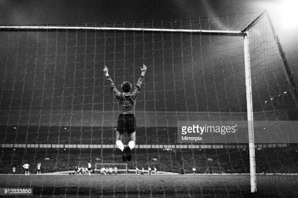 Everton v Kilmarnock at Goodison Park Andy Rankin the Everton goalkeeper leaps with delight after his team score their third goal in the second leg...