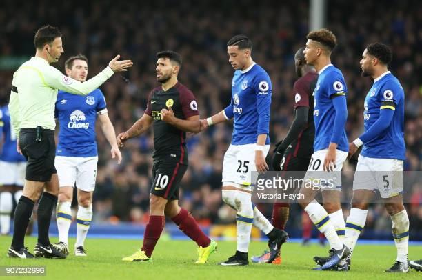Everton v Manchester City Premier League Goodison Park Manchester City's Sergio Aguero appeals Mark Clattenburg's decision
