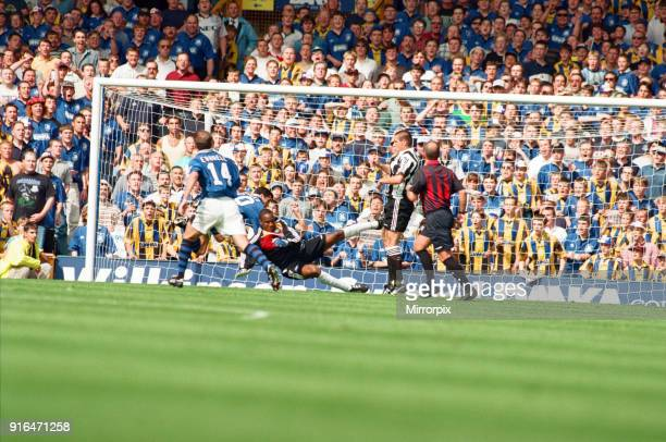 Everton v Newcastle Premiership Football 17th August 1996 Gary Speed scores Everton's second goal